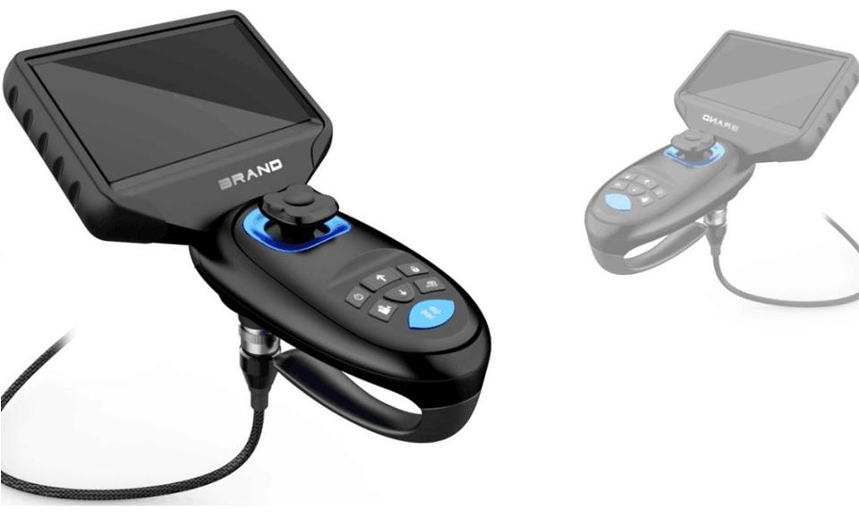 Joystick videoscope with 360 rotation camera lens